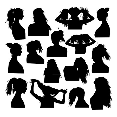 red head woman: Silhouettes of girls hairstyles
