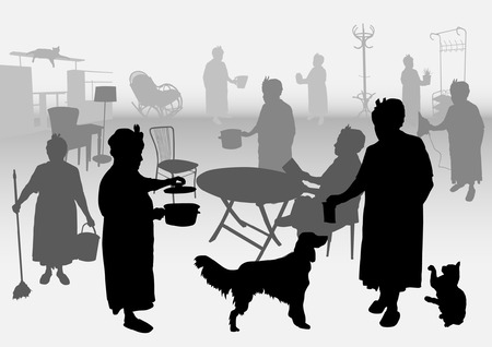 homework: silhouettes of housewives who do homework in home