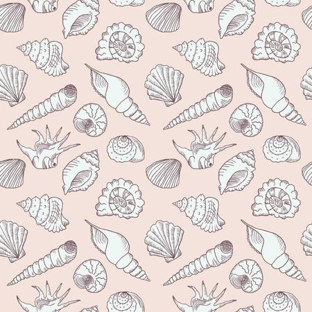 Hand drawn sea shells seamless