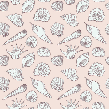 Hand drawn sea shells seamless
