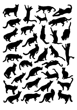 silueta gato: Siluetas de los gatos Vectores