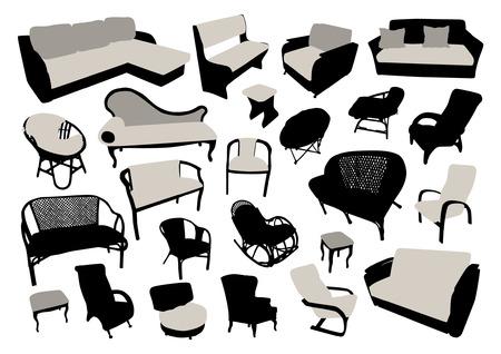 divan: Sofá y una silla siluetas fijaron Vectores