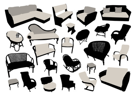 sofa: Sofa and chair silhouettes set Illustration