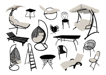Garden and beach furniture silhouettes set Vettoriali