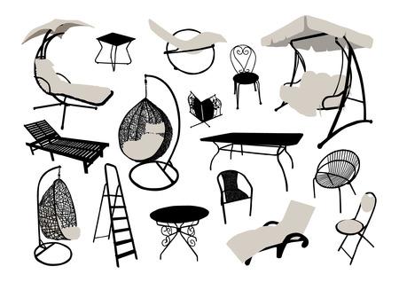 Garden and beach furniture silhouettes set Illustration