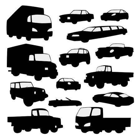 motor de carro: Conjunto de coches silueta
