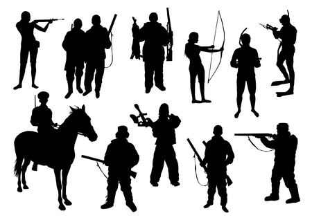 cazador: Caza Siluetas Set Vectores