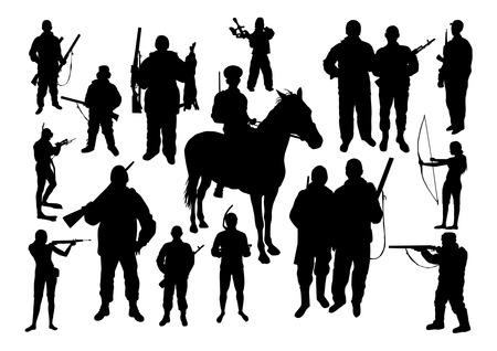 uomo a cavallo: Caccia Silhouettes Set