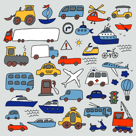 vehicle icon: Transport hand drawn set