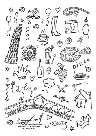 Italia dibujado a mano set Foto de archivo - 44556272