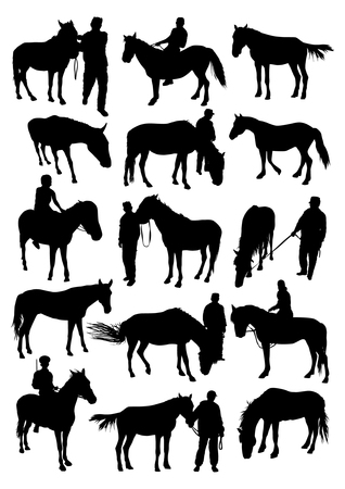 reins: Horse and man silhouettes set Illustration
