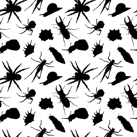 Insects Silhouettes Seamless