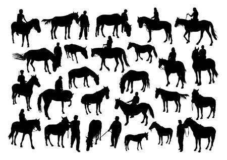 femme a cheval: Chevaux et personnes silhouettes set Illustration