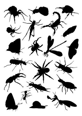 昆虫シルエット セット  イラスト・ベクター素材