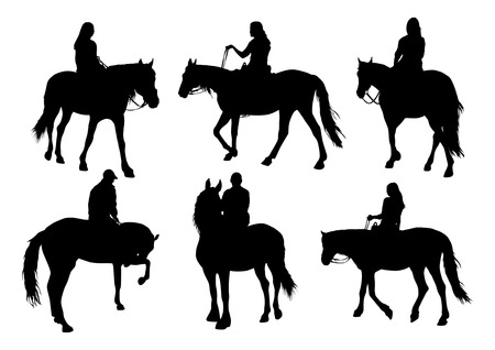 reins: Horses and people silhouettes set