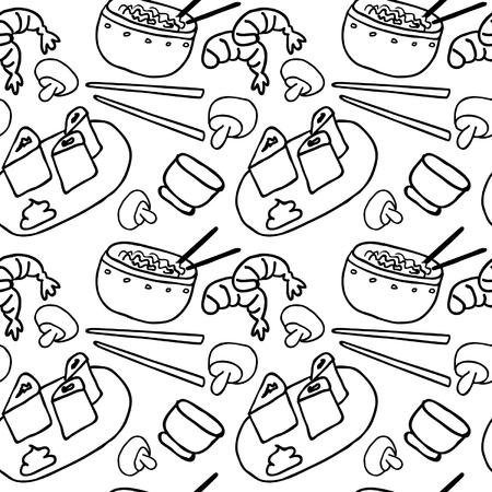 日本料理: Hand Drawn Japan Food Seamless