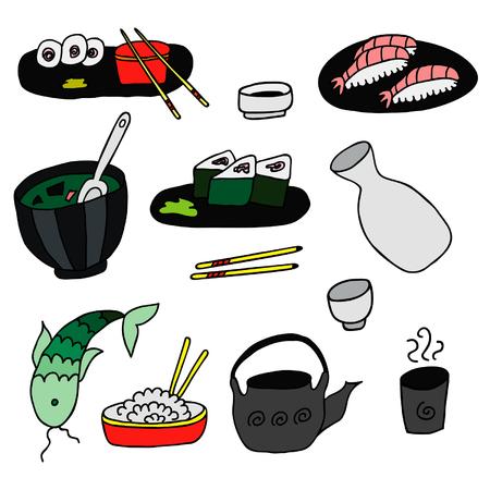 日本料理: Hand Drawn Color Japan Food