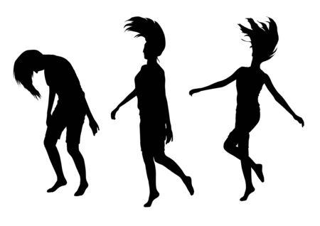 siluetas de mujeres: Ilustración de las niñas saltando siluetas Vectores