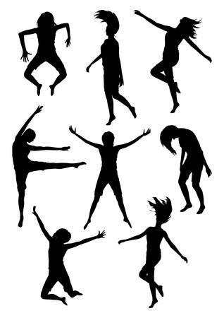 exaltation: Illustration of girls jumping silhouettes Illustration