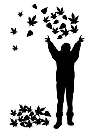 nature vector: Girl with autumn leaves silhouettes