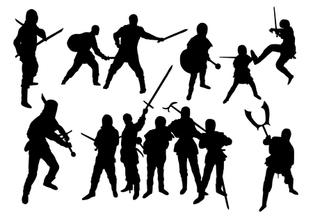 bamboo stick: Martial Arts Silhouettes Set