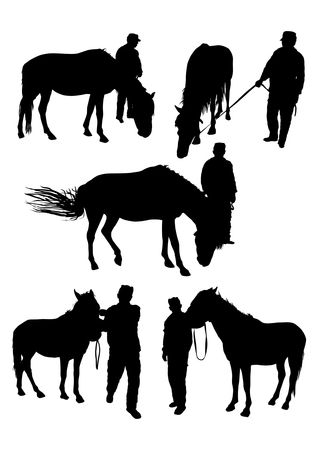 trotter: Horse and man silhouettes set Illustration