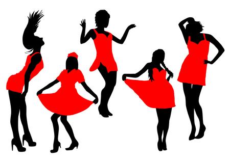 models: Models Girls Color Set Illustration