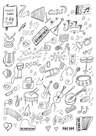 Hand drawn music set