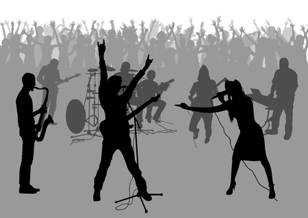 outstretched: Popular music concert and crowd of fans silhouettes