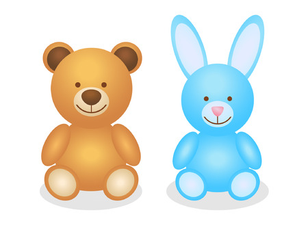 colofrul: Colofrul vintage two toys. Brown bear and blue rabbit toys for boy and girl.