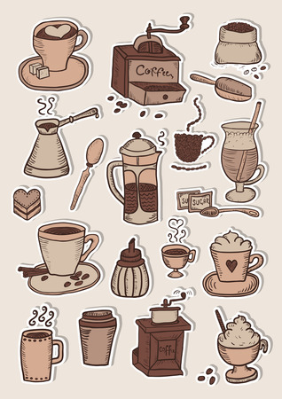 Hand gezeichnet Kaffee Aufkleber Skizze Set Standard-Bild - 68695839