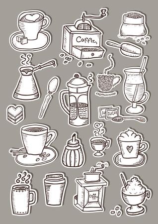 Hand gezeichnet Kaffee Aufkleber Skizze Set Standard-Bild - 68695840