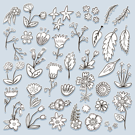 Hand drawn colorful flower decorative isolated sticker