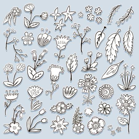 Hand gezeichnet bunten Blumen dekorativ isoliert Aufkleber Standard-Bild - 68695243