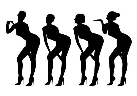 standing on one leg: woman black silhouette set