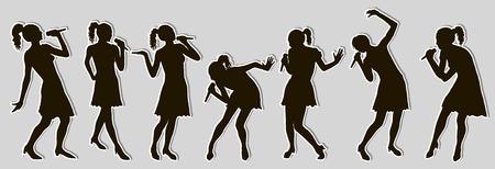 Black singing people silhouettes sticker set