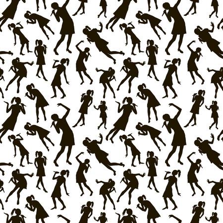 Schwarz Singen Menschen Silhouetten nahtlose Reihe Standard-Bild - 68695848
