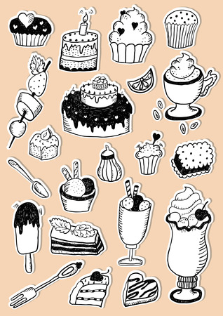 Hand Drawn Confectionery Sweet Colorful Sticker Set Vectores