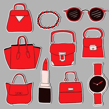 woman accessories: Hand drawn woman accessories sketches sticker set. Colorful version