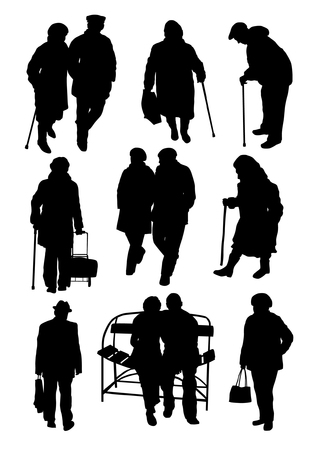 crutch: Older people silhouettes