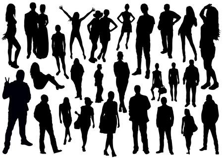 People Silhouettes Set Illustration