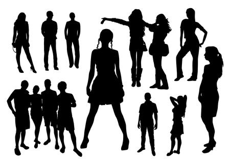 Persone silhouette vettore nero Archivio Fotografico - 66680108