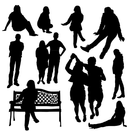 Menschen Silhouette Set Standard-Bild - 66680143