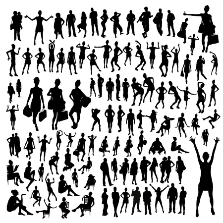 sexy dancer: big set of people silhouettes Illustration