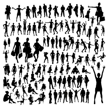 gente che balla: grande insieme di sagome di persone