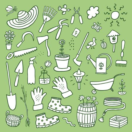Gezeichneter Karikaturskizzensatz des Gartens Hand Standard-Bild - 90629084