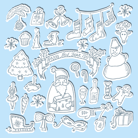 Christmas Hand Drawn Cartoon Sketch Sticker Set