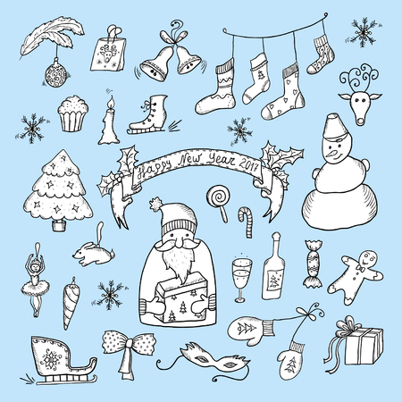 Christmas Hand Drawn Cartoon Sketch Set Illustration