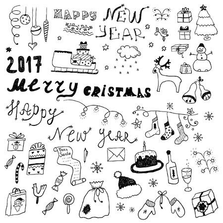 Hand gezeichnete Weihnachtsdesign-Skizzenelemente Standard-Bild - 90629088