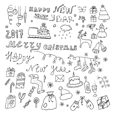 Hand drawn christmas design sketch elements